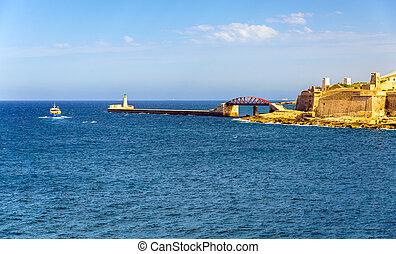 vista, de, magnífico, puerto, rompeolas, en, valletta, -, malta