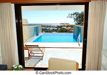 vista de mar, de, apartamento, en, el, lujo, hotel, crete, grecia