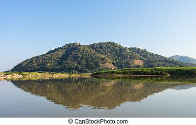 vista, de, montaña, y, reflextion