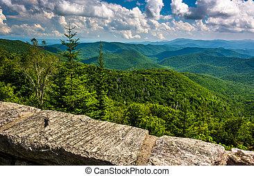 vista, de, montanhas appalachian, de, a, avenida cume azul, em, nem