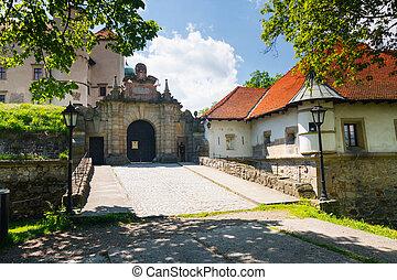 vista, de, nowy, wisnicz, castelo, polônia