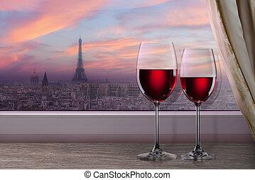 vista, de, parís, y, torre eiffel, en, ocaso, de, ventana,...