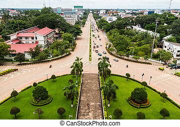 vista, de, patuxai, vientiane, laos