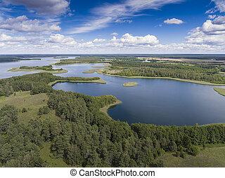 vista, de, pequeno, ilhas, ligado, a, lago, em, masuria, e,...
