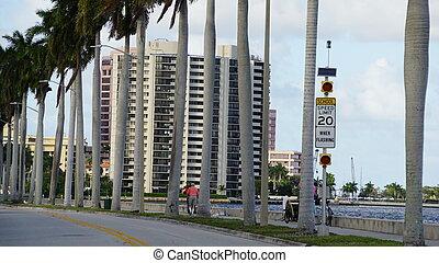 vista, de, praia ocidental palma, em, flórida