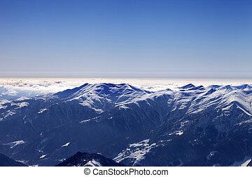 vista, de, refúgio esqui, em, manhã