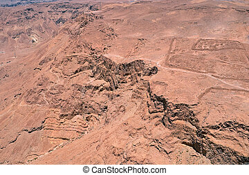 vista, de, ruínas, de, herods, castelo, em, a, masada, fortaleza, perto, mar morto, em, israel