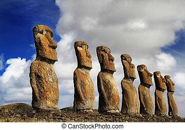 vista, de, siete, ahu, akivi, moai