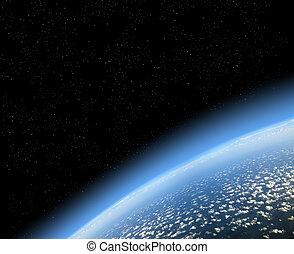 vista, de, terra, de, espaço