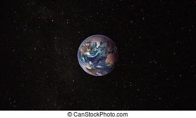 vista, de, tierra, de, espacio exterior, con, millions, de, estrellas, alrededor, él