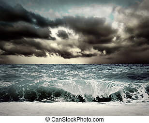 vista, de, tormenta, vista marina