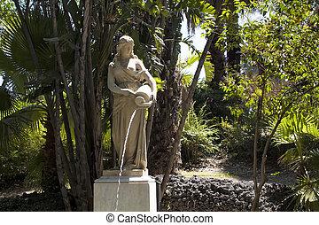 vista, de, um, estátua, de, mulher, água derramando, em, parco, maestranze, (public, park), em, catania, cidade, de, sicília, região, em, italy.