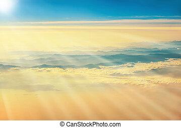 vista, de, un, avión, a, ocaso, en, el, cielo