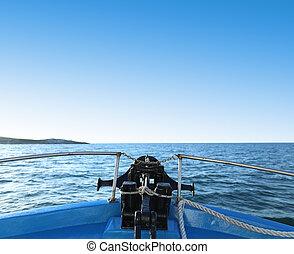 vista, de, un, vaya barco