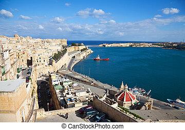 vista, de, valletta, y, magnífico, puerto