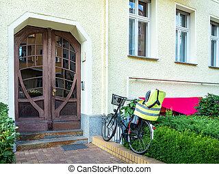 vista delantera, de, el, entrada, puerta