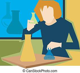 vista delantera, de, niña, en, un, ciencia, laboratorio