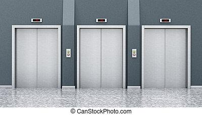 vista delantera, de, puertas de ascensor, en, el, corridor.,...