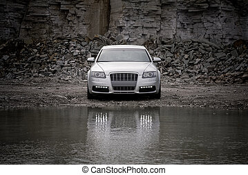 vista delantera, de, un, automóvil de lujo