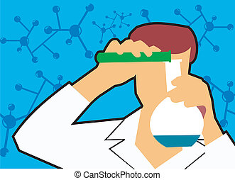 vista delantera, de, un, científico, el verter, líquido, en, frasco