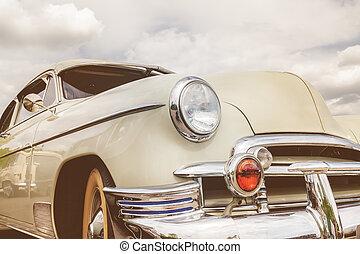 vista delantera, de, un, fifties, norteamericano, coche