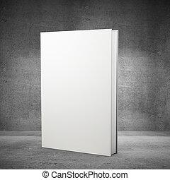 vista delantera, libro, blanco