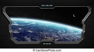 vista, dentro, estación, espacio exterior