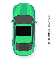 vista, desporto, isolado, estilo, topo, fundo branco, car, apartamento, verde