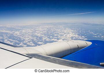 vista, di, ala, motore, e, nubi, a, altitudine