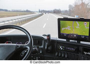 vista, di, autostrada, traffico, da, il, camion
