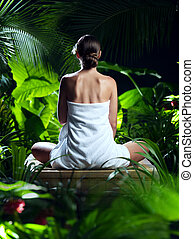 vista, di, bello, giovane, meditare, in, terme, tropico, ambiente