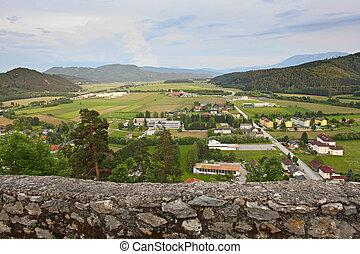 vista, di, valle, da, rovine, di, medievale, castello, in, austria
