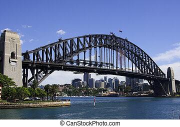 vista diagonal, en, sydney, puente