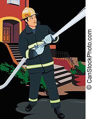 vista dianteira, bombeiro