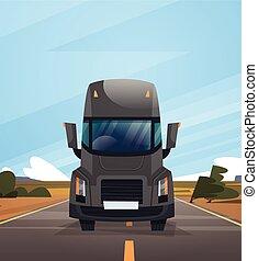 vista dianteira, de, caminhão carga, reboque, dirigindo, ligado, coutryside, estrada, sobre, céu azul, paisagem