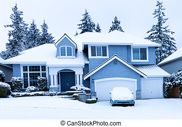vista dianteira, de, lar, durante, inverno, nevada