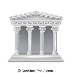 vista dianteira, de, um, antigüidade, grego, temple.,...