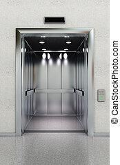 vista dianteira, de, um, modernos, elevador, em