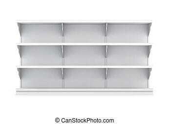 vista dianteira, prateleira, com, prateleiras, para, supermercado, isolado, branco, b
