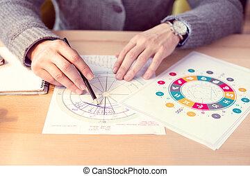 vista, dibujo, cima, esquema, astrológico