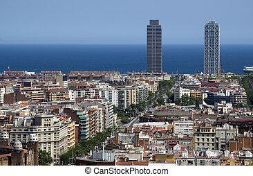 vista, direção, a, mar, em, barcelona, espanha