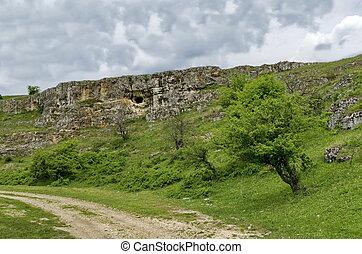 vista, direção, rocha sedimentar