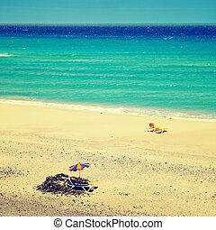 vista, efecto, canario, fuerteventura, nombre, españa, playa...