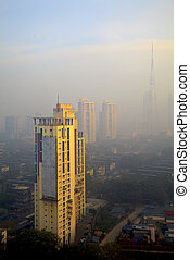 vista elevada, de, niebla tóxica, llenado, bombay, contorno