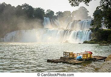 vista, em, detian, cachoeiras, com, bambu, jangada, ligado,...
