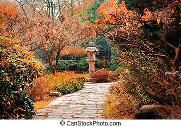 vista, em, monumento, em, jardim japonês, e, ruela