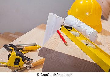 vista, en, conjunto, de, trabajando, herramientas, en, pasos, de, escala de madera