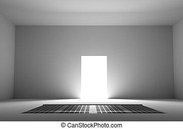 vista, en, iluminado, puerta, de, habitación vacía
