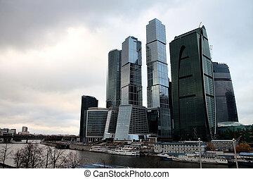 vista, en, moscú, ciudad, rascacielos