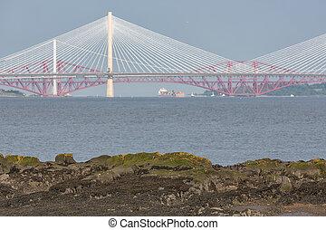 vista, en, tres, puentes, cruce, ría adelante, en, escocia